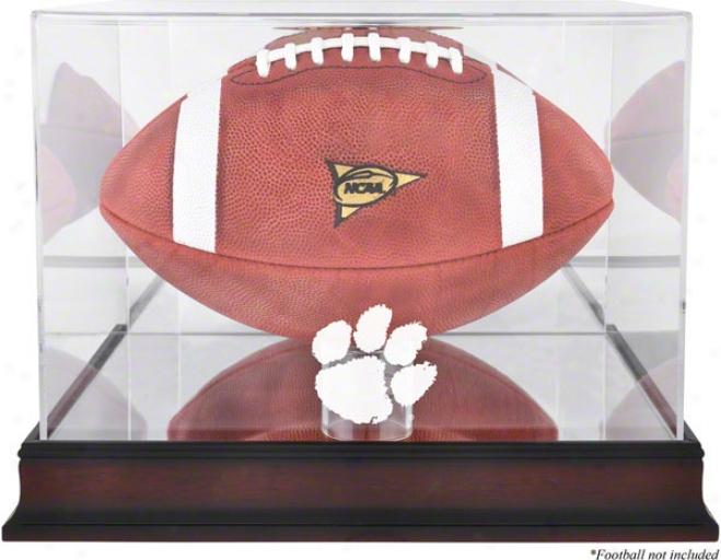 Clemson Tigers Mahogany Logo Football Case And Mirror Back