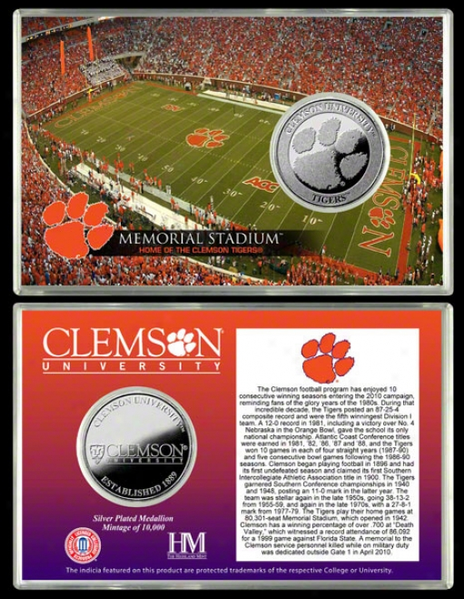 Clemson Tigers Memorial Stadium Silver Coin Card