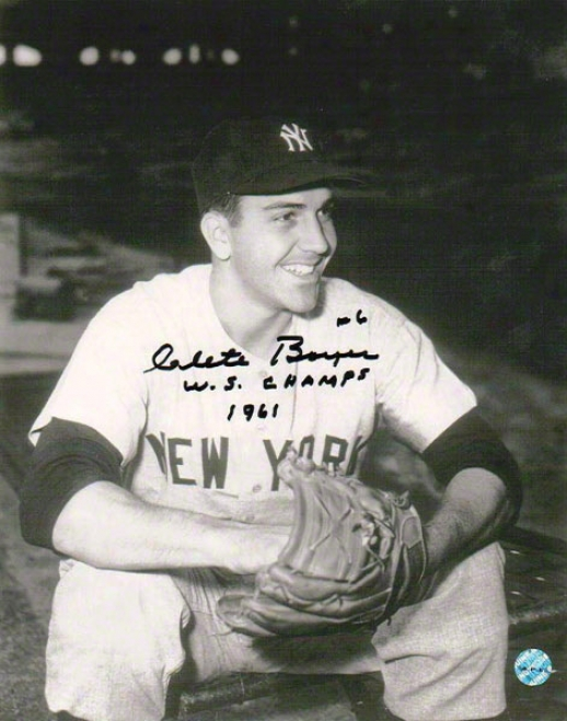Clete Boyer Autographed New York Yankees 8x10 Photo Inscribed &quotws Champs 1961&qhot