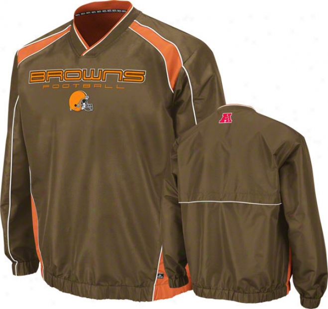 Cleveland Browns Coach's Choice Ii Brown Lightweight Pullover Jacket