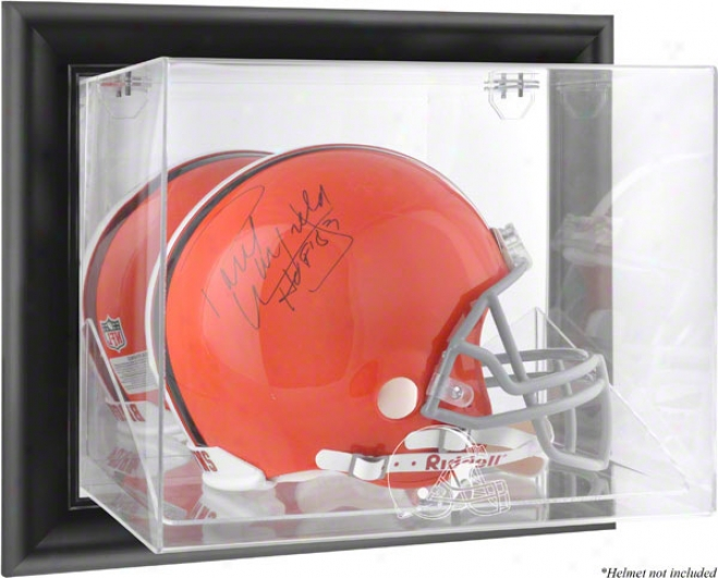 Cleveland Browns Fraemd Wall Mounted Logo Helmet Dis;lay Case