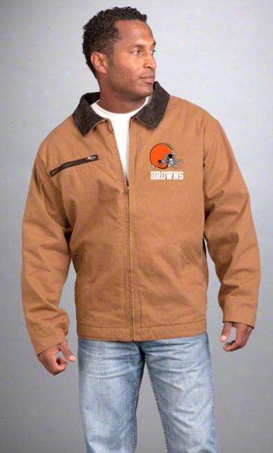 Cleveland Browns Jackeet: Brown Reebok Tradesman Jerkin