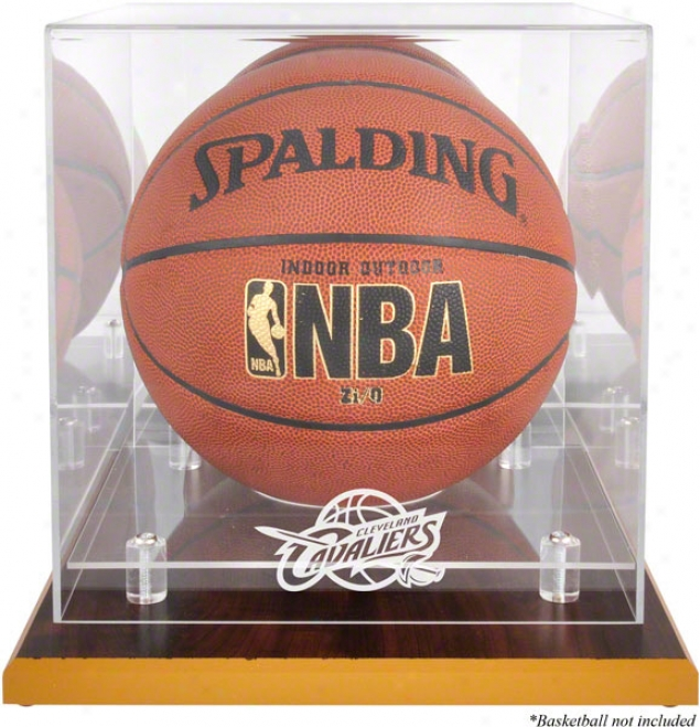 Cleeveland Cavaliers Woodbase Logo Basketball Display Case And Mirror Back