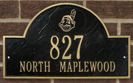Cleveland Indians Black And Gold Personalized Address Wall Plaque