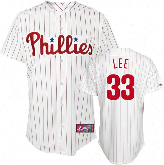 Cliff Lee Jersey: Person of mature age Majestic Home White Pinstripe Replica #33 Philadelphia Phillies Jersey