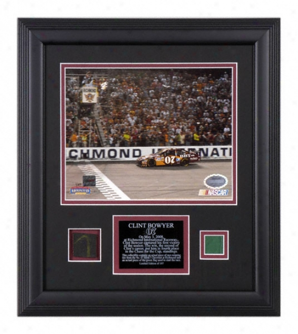 Clint Bowyer - 2008 Richmond - Framed 8x10 Photograph With Race Used Tire And Green Flag Piece