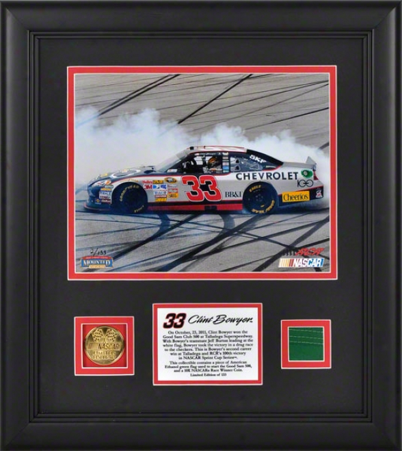 Clint Bowyer Framed 8x10 Photogarph  Details: 2011 Good Sam Club 500 At Talladega Superspeedway, Race Winner, With 100k Gold Coin And Green Flag - Limited Editio