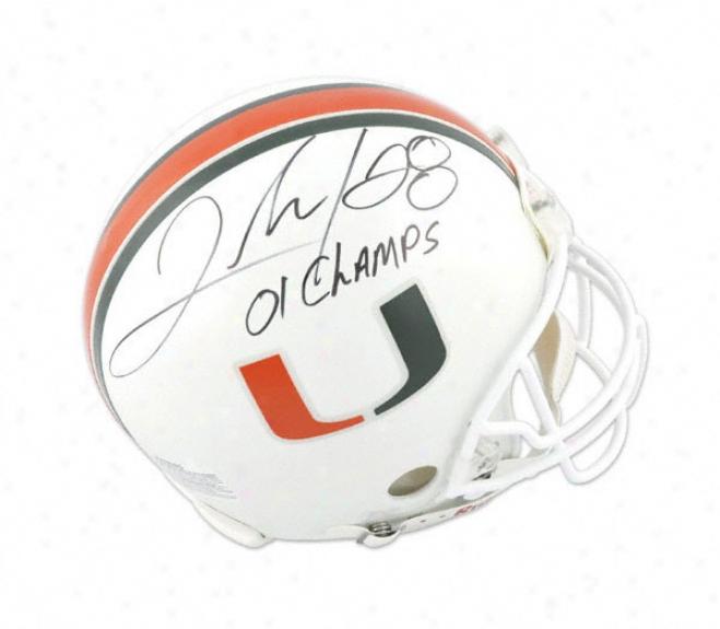 Clinton Portis Autographed Pro-line Helmet  Details: Miami Hurricanes, 2001 Natl Champs Inscription, Authentic Riddell Helmet