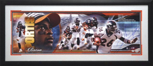 Clintoh Portis Denver Broncos Framed Autographed Panoramic Photograph