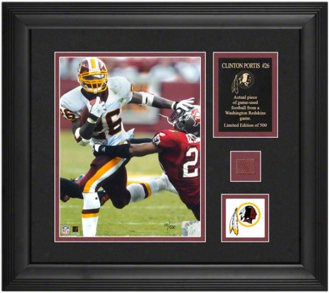 Clintkn Portis Washington Redskins Framed 8x10 Phottograph Witn Game Used 2005 Football Gun And Medallion