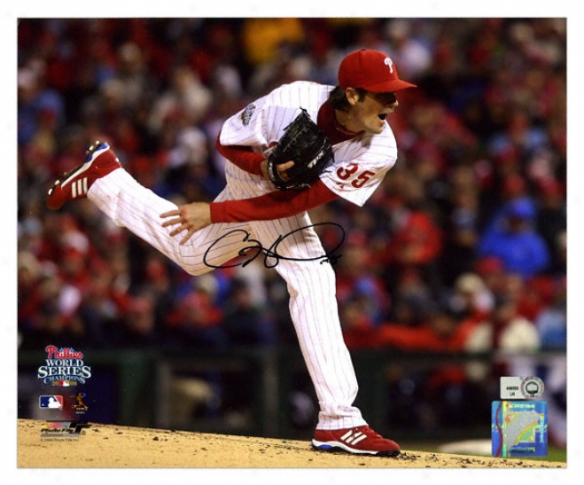 Cole Hamels Philad3lphia Phillies 2008 World Series Autographed 8x10 Photograph