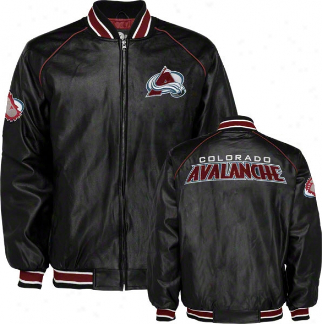 Colorado Avalanche Faux Leather Varsity Jacket