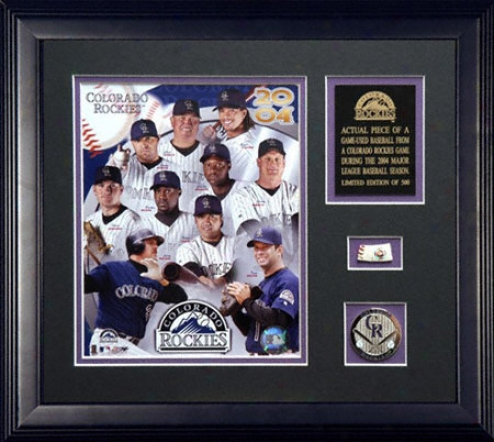 Colorado Rockies 2004 A Piece Of The Gratify Framed 8x10 Team Photogrqph With Game Used Baseball