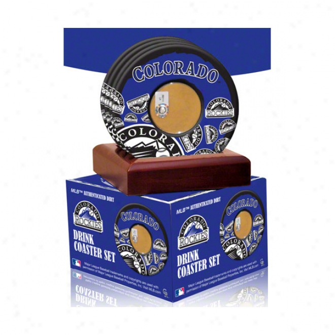 Colorado Rockies 4 Pack Coaster Set With Game Used Dirt