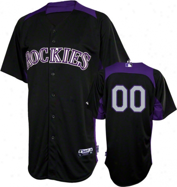 Colorado Rockies Jersey: Any Number Auhtentic Black On-field Batting Acting out Jersey