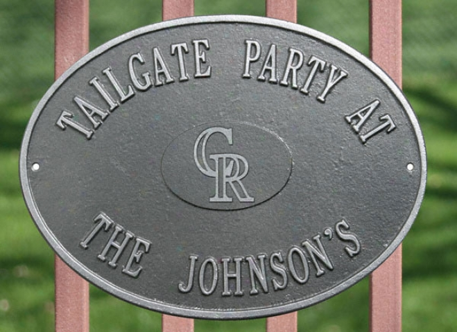Colorado Rockies Pewter AndS ilver Personalized Indoor/outdoor Plaque