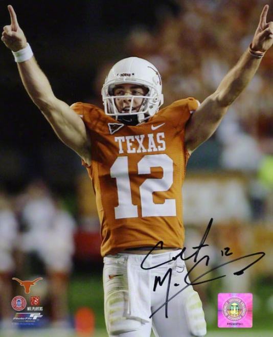 Colt Mccoy Autographed Photograph  Details: Texas Longhorn, Celebration, 8x10