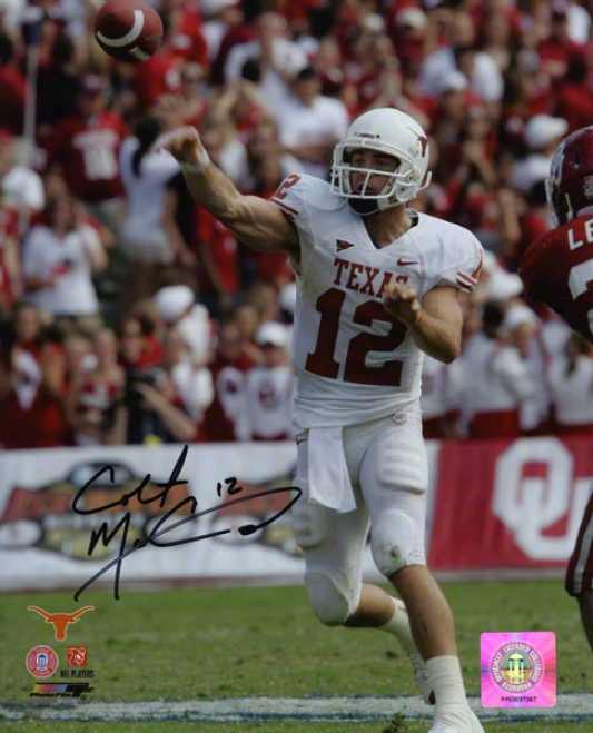 Colt Mccoy Texas Longhorns Autographed 8x10 Releasing Ball Photo