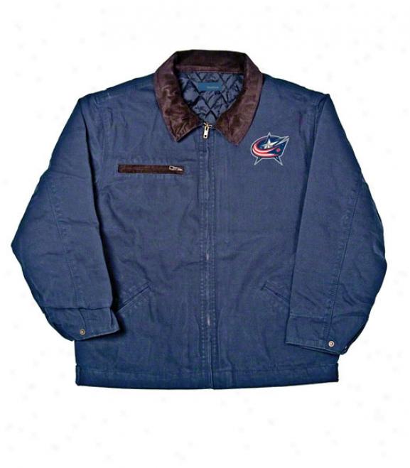 Columbus Blue Jackets Jacket: Blue Reebok Tradesman Jerkin