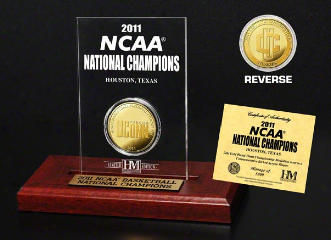 Connecticut Huskies 2011 Ncaa Basketball National Champions 24kt Gold Coin In Etched Acrylic
