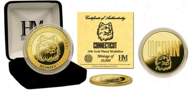Connecticut Huskies 24kt Gold Coin