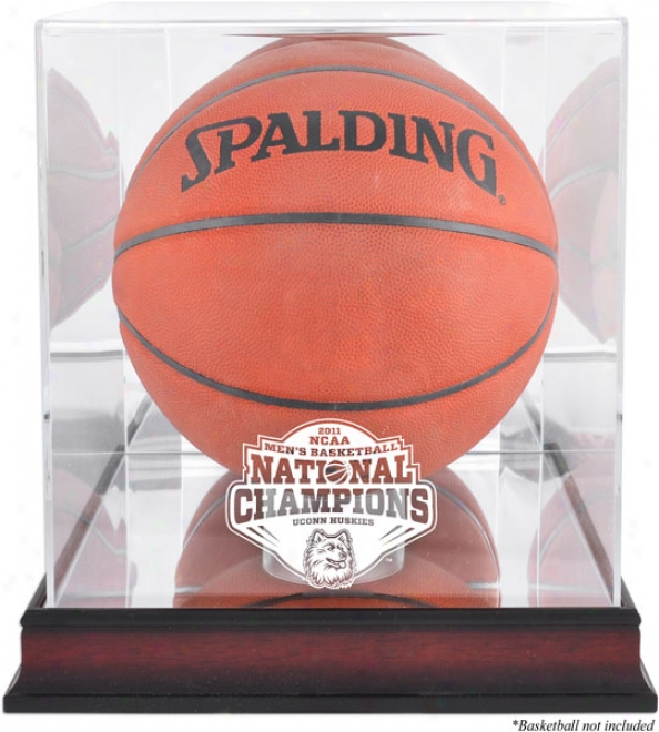 Connecticut Huskies Basketball Display State  Details: 2011 Ncaa Basketball National Champions, Antique Mahogany Finish, Mirror Back