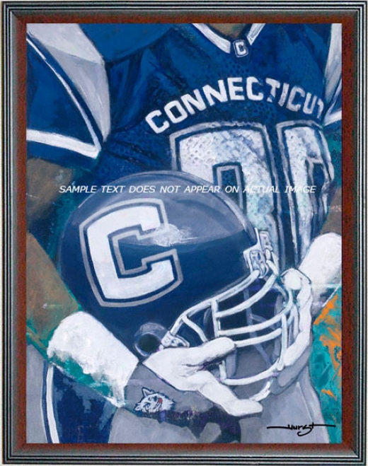 Connecticut Huskies - &quotu Of C Helmet Series&quot - Large - Framed Giclee