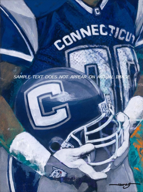 Connecticut Huskies - &quotu Of C Helmet Series&quot - Large - Unframed Giclee
