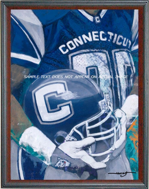 Connecticut Huskies - &quotu Of C Helmet Series&uot - Oversized - Framed Giclee