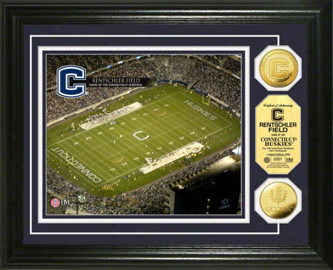 Connecticut Huskies Rentshler Field 24kt Gold Coin Photo Mint