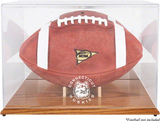 Connecticut Huskies Team Logo Football iDsplay Case  Details: Oak Base