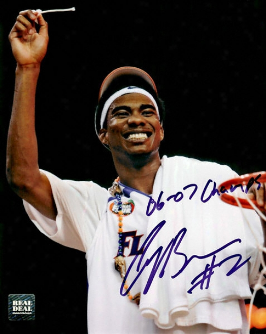 Corey Brewer Florida Gators - Cutting The Nets - Autographed 8x10 Photograph With 06-07 Champs Inscription