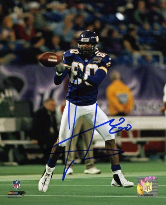 Cris Carter Autographed Photograph  Details: Minnesota Vikings, Catching, 8s10