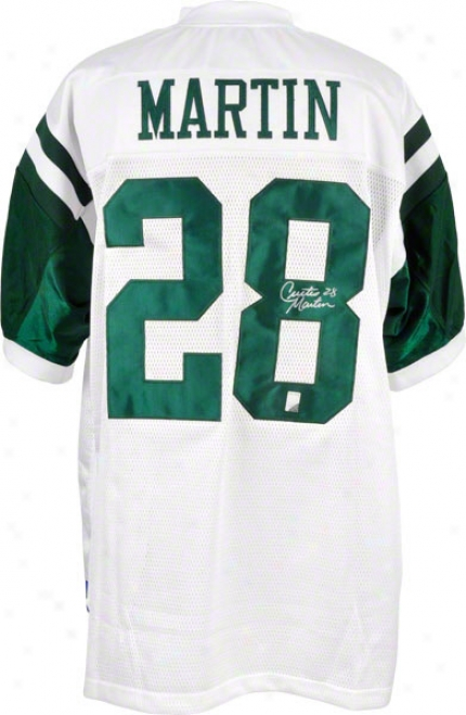 Curtis Martin Autographed Jersey  Details: New York Jets, White, Reebok