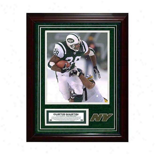 Curtis Martin New York Jets 11x14 Framed Collage With Game Used Turf Photo & Nameplate