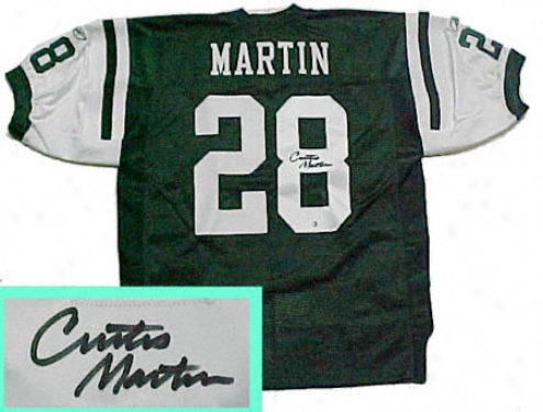 Curtis Martin New York Jets Autographed Genuine Green Jersey