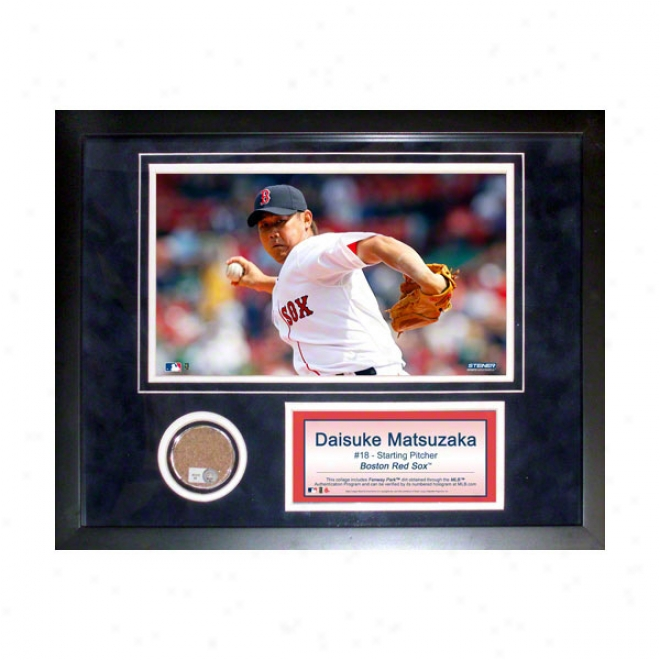 Daisuke Matsuzaka Boston Red Sox 11x14 Framed Collage With Game Used Filth, Photo & Nameplate