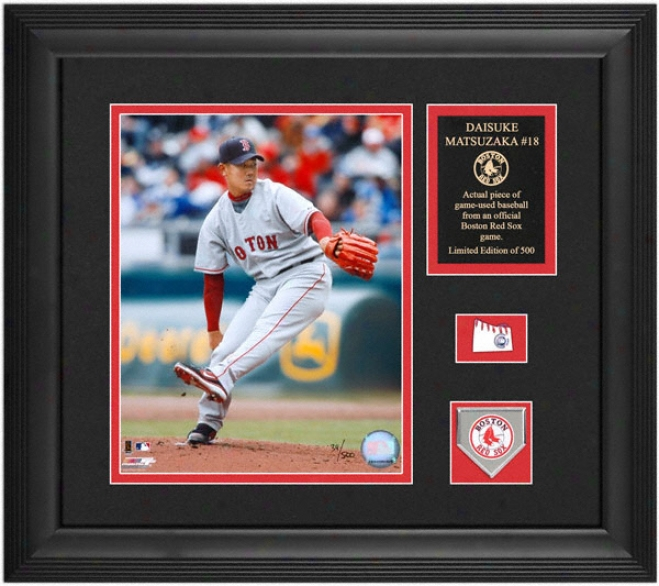 Daisuke Matsuzaka Boston Red Sox 8x10 Framed Photograph With Game Used Baseball Piece, Team Medallion And Descriptive Plate