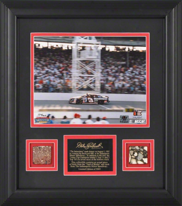 Dale Earnhardt -1995 Brickyard 400- Framed 8x10 Photograph With Brick And Track