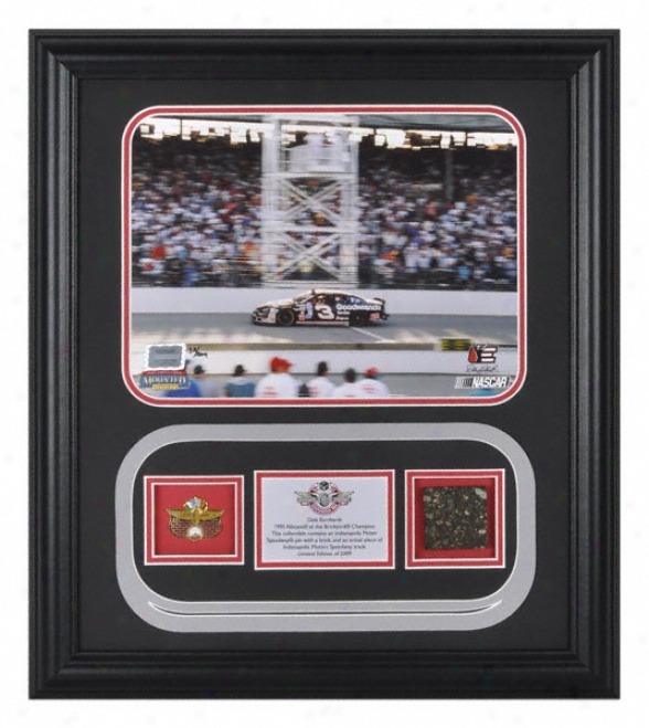 Dale Earnhardt - 1995 Victory - Framed 8x10 Photogralh With Ims Pin And Authentic Indianapolis Motor Speedway Track - Le Of 2009