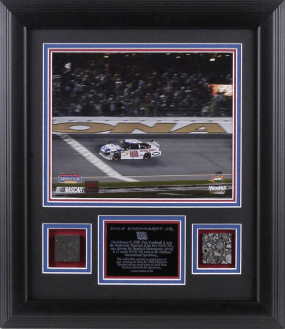 Dale Earnhardt Jr. - 2008 Bud Shootout Generation Winner - Framed 8x10 Photograph With Race Winning Tire & Piece Of Daytona Track