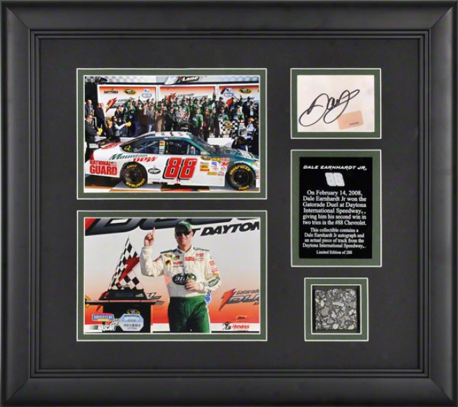 Dale Earnhardt Jr. - 2008 Gatorade Shootout - Framed 5x7 Photographs With Autographed Card And Race Uzed Track Piece