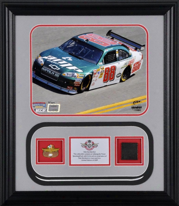Dale Earnhardt Jr. - Amp Energy Car - Framed 8x10 Photograph With Indianapolis Motor Speedway Pin, Brick And Trustworthy Chase Used Tire - Le Of 2009