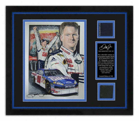 Vale Earnhardt Jr. - Bud Shootout - Framed 8x10 Lithograph With Suit, Tire And Artist Signature