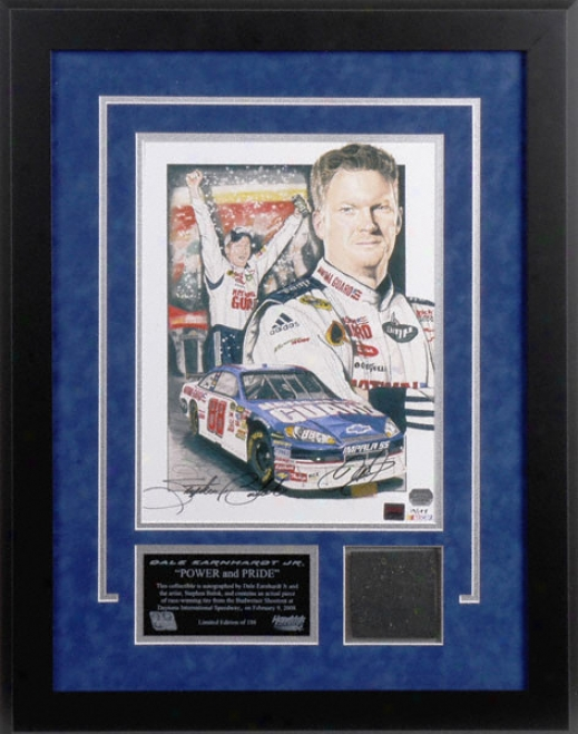 Dale Earnhardt Jr. - Bud Shlotout - Framed Dual Autographed Lithograph With Tire Drama And Artist Signatuure
