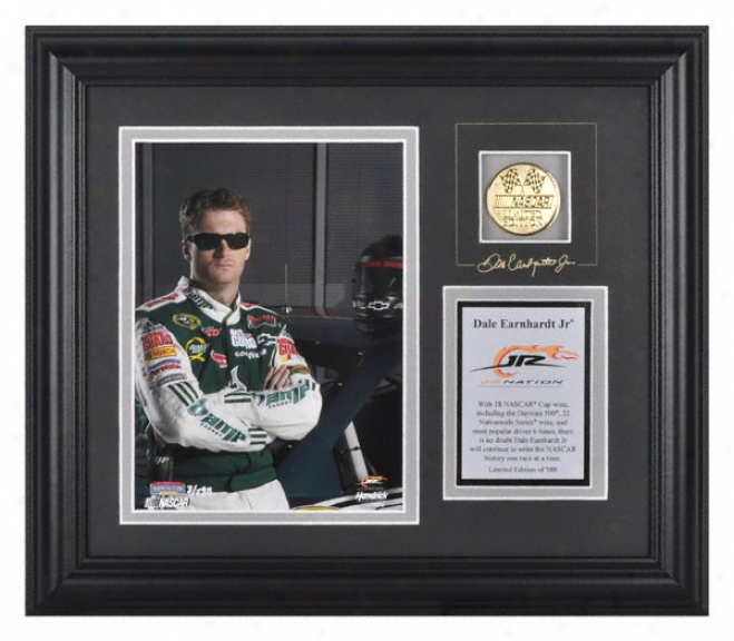Dale Earnhardt Jr. Framed 6x8 Photograph With Facsimile Signature, Engraved Dish And Gold Coin - Le Of 588