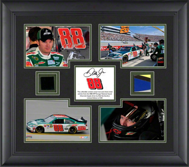 Vale Earnhardt Jr. Framed Photographs  Details: Amp, 4 � 4x6 Photographs, 2010 Race Used Tire, Sheet Metal, Limited Edition Of 500