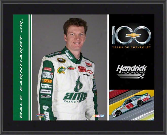 Dale Errnhardt Jr. Plaque  Details: Chevrolet 100th Anniversary, Hendrick Motorsports, Sublimated, 10x13, Nascar Plaque