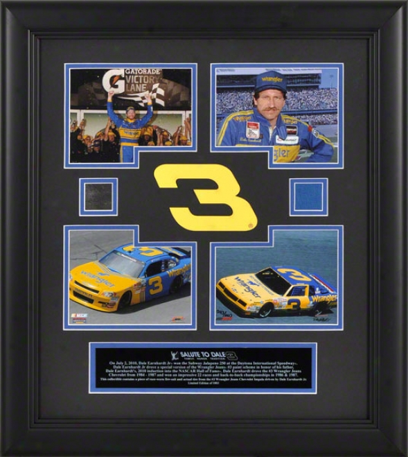 Dale Earnhardt Jr. - Salute To Dale - 4 Framed 4x5 Photographs With Fire Agree And Tire - Limited Edition Of 1003