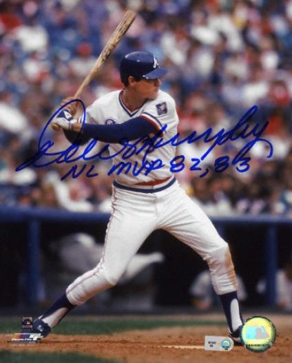 Dale Murphy Atlanta Braves - Batting - Autographed 8x10 Photograph With Nl Mvp 82, 83 Inscription